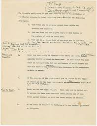 mcgill s john peters humphrey s legacy work original draft of one of the three pages from humphrey s draft of the declaration of human rights courtesy