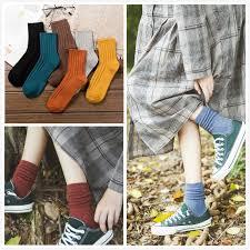 <b>Women Girl</b> Cotton <b>Solid</b> Color Loose Rool Up Casual Socks ...