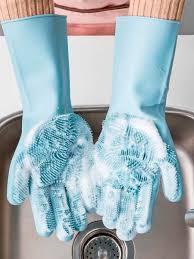 Хозяйственные <b>силиконовые перчатки</b>-щетки для мытья посуды ...