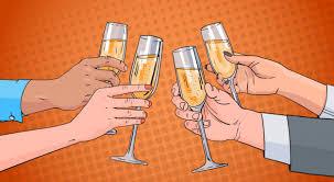 Руки группы бокал шампанского <b>вина</b> поджаривания поп-арт ...