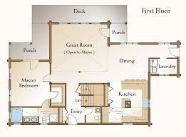 The Middleton Log Home Floor Plan   Bedroom Log Home Plan    Middleton Log Home Floor Plan First Floor