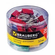 <b>Зажимы для</b> бумаг <b>BRAUBERG</b>, КОМПЛЕКТ 24 шт., 32 мм, на 140 ...