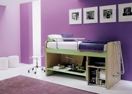 l beauteous purple paint color accent kids bedroom wall design with loft beds which has grey polished steel stairs and open storage shelf plus clear beauteous kids bedroom ideas furniture design