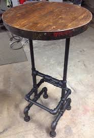industrial pipe wine barrel ring reclaimed wood top raised bar pub table 42 arched table top wine cellar furniture