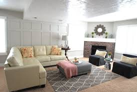 cream couch living room ideas: cream leather sofa living room modern with brick fireplace cream leather