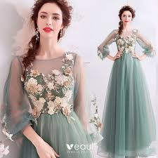 <b>Flower Fairy</b> Jade Green Prom Dresses <b>2019</b> A-Line / Princess ...