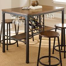 tabacon counter height dining table wine: dining table with wine storage traditional dining tables by