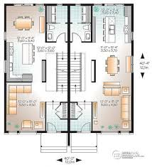 Multi family plan W  V detail from DrummondHousePlans com    st level Contemporary duplex house plan  or bedroom option  ensuite