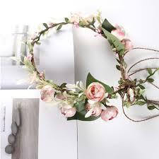 <b>Beautiful</b> Bride <b>Artificial Flower Head Wreath</b> For Hair Floral ...