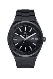 Black Conquest watch with <b>stainless steel strap for</b> men – Paul Rich ...