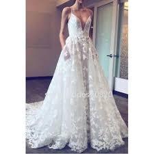Spaghetti Straps Lace Appliques <b>Wedding</b> Dress <b>Summer Beach</b> ...