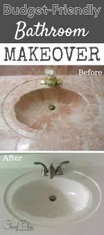 friendly bathroom makeovers ideas: repaint your bathroom sink repurpose an ugly sink and get a whole new look with