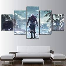 Sdefw Home Decoration Painting <b>5 Pieces</b> Witcher Wall Art <b>Hd</b> Print ...