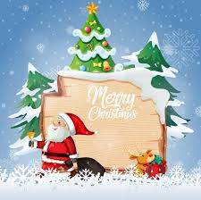 <b>Merry christmas</b> font logo on wooden board with christmas <b>cartoon</b> ...