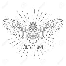 Owl. Eagle owl outline emblem in geometric <b>hipster style</b> with arrow ...