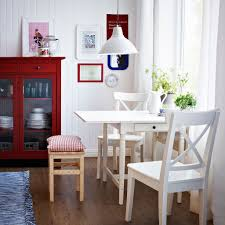 dining room sets ikea: ingatorp white drop leaf table seats   with ingolf white chairs and oddvar