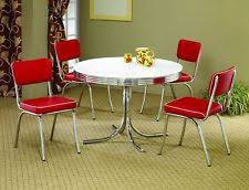 metal dining room chairs chrome: red s retro pc dining set table chairs chrome kitchen dinette vintage metal