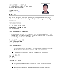 example of resume resume builder example of resume sample resume format for fresh jobstreet resume for teachers examples template