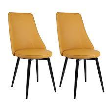 Home, <b>Furniture</b> & DIY <b>2</b> PU Leather Yellow <b>Chairs Dining Swivel</b> ...