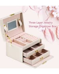 VBESTLIFE Three Layer Jewelry Storage Organizer Box <b>PU</b> Earring ...