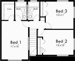 Duplex House Plans  Duplex Plans With Garages Together  D  Upper Floor Plan