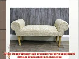 101cm french vintage style cream floral fabric upholstered ottoman window seat bench bed end baumhaus wine rack lamp table