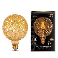 Лампа Gauss LED Filament G120 Сarat E27 4W Golden 2400K ...