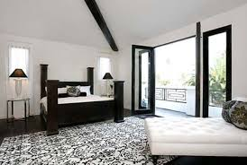 modern shag rugs and black white floral pattern rug combined f with leather tufted chaise lounge bedroom 13 fabulous black bedroom ideas