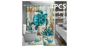 4pcs/3pcs/1pcs Sea Turtles <b>Waterproof Bathroom Shower Curtain</b> ...