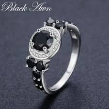 Cute <b>3.4g 925</b> Sterling Silver Fine Jewelry Round Bague Black ...