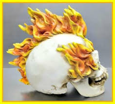 Large <b>Gothic SKULL</b> Skeleton HEAD on Fire Flames Fangs ...