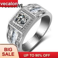 Vecalon Men Engagement Band Solitaire 1ct Cz AAAAA Zircon ...