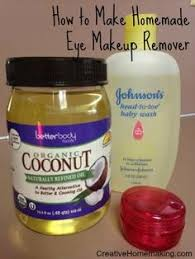 easy homemade eye makeup remover made from coconut oil and baby shoo