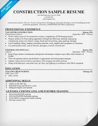 example resume construction company resume sample education and company resume example