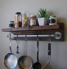 ideas wall shelf hooks: industrial rustic kitchen wall shelf spice rack with quot pot rack bar and  s