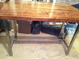 rustic industrial butcher block top awesome custom reclaimed wood office desk
