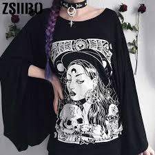 Gothic T Shirt <b>Women 2019 Loose Black</b> Grunge Punk Tops ...