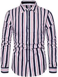 <b>Mens Casual</b> Business Shirts Classic Striped <b>Turn Down</b> Collar ...