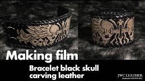 Making Biker <b>bracelet</b> skull design leather <b>carving</b> 가죽팔찌 가죽카빙
