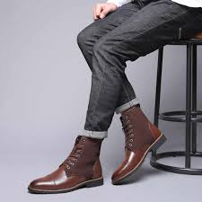 NEW <b>Men</b> Scrub Boots Fashion Ankle Boots <b>Leather Bright Leather</b> ...