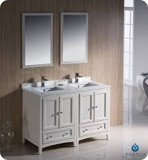 55 inch double sink bathroom vanity: fresca fvn aw oxford  inch antique white traditional double sink bathroom vanity