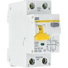 <b>Выключатель</b> авт. <b>диф</b>. <b>тока 1п</b>+N 2мод. С32А 30mА тип A 6kA ...