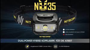 <b>Nitecore NU35</b> - <b>Dualpower</b> Kopflampe mit 3 Lichtquellen schwarz ...