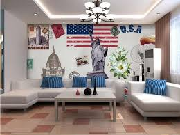 liberty bedroom wall mural:  d room wallpaper custom non woven wall sticker statue of liberty peony flag background