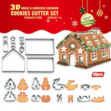 <b>18PCs 3D Christmas</b> Cookie Cutters Baking Moulds Gingerbread ...