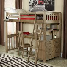 rustic loft bed set with desk cabinet system unit casual wood chair cream black bed desk set
