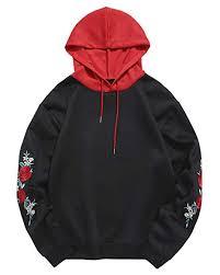 ZAFUL Men <b>Embroidery</b> Midweight Hooded Sweatshirt <b>Drawstring</b> ...