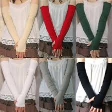 <b>Women's Cotton UV Protection</b> Arm Warmer Long Fingerless Long ...
