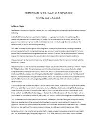 essay care to the health of a population primary care to the health of a population essay by josu m pedraza c