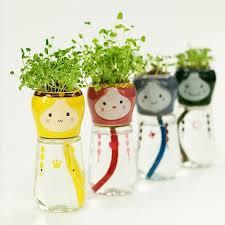 Home Office Decor Cute Emoji Doll Self Watering Flowerpots ...